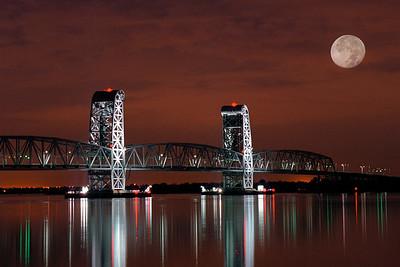 moon over Marine Parkway bridge