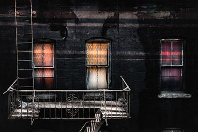 Three windows and ladder