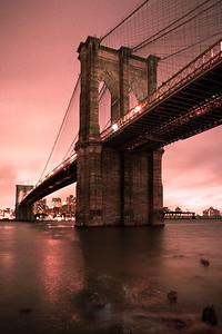 Brooklyn Bridge, red morning