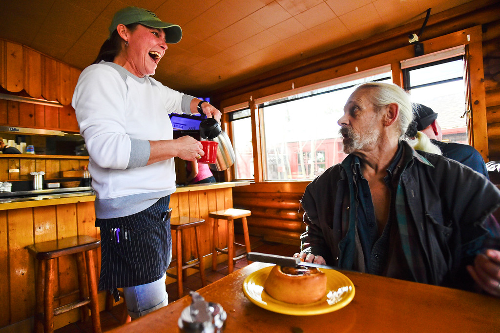 ". GOLDEN, CO - JANUARY 20:Server/Bartender Sue Widholm talks with ""Dusty\"" at the Wondervu Cafe in Coal Creek Canyon on Jan. 20, 2019.  (Photo by Matthew Jonas/Staff Photographer)"