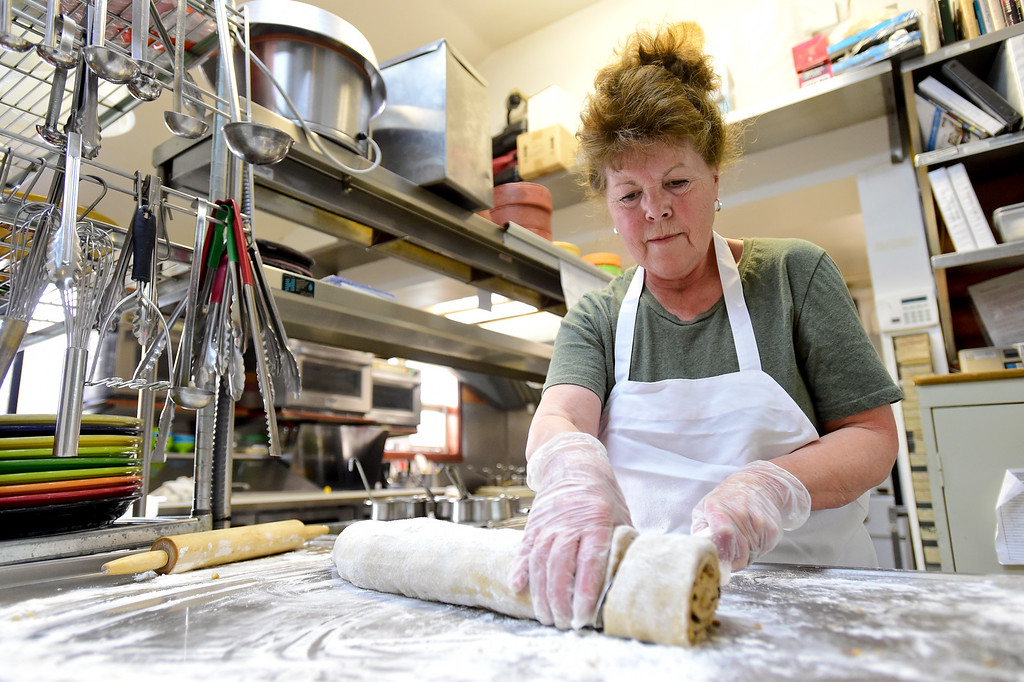 . GOLDEN, CO - JANUARY 20:Owner/Manager Adeline Clairmont makes cinnamon rolls at the Wondervu Cafe in Coal Creek Canyon on Jan. 20, 2019. Clairmont will have owned the cafe for 43 years in March. (Photo by Matthew Jonas/Staff Photographer)