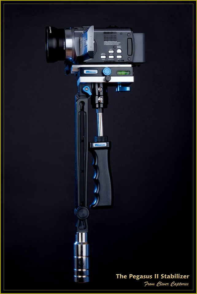 """DESCRIPTION<br /> <br /> The Pegasus II, shown here with balance bracket folded in executive black finish with a camcorder mounted, is a professional and amateur users, hand held, video camera stabilizer. It has been designed essentially to meet the needs of amateur and domestic film and video makers. However, with high quality HD cameras reducing in size and weight, such as the recently released GoPro HD Hero2 (also being sold by Clever Captures at  <a href=""""http://www.gopro.ph"""">http://www.gopro.ph</a>) it is also suitable for professionals in the movie, television, wedding and advertising industries. Note! Advise regarding the use of this product with the GoPro Hero2 camera will be released shortly.<br /> The Pegasus II is lightweight, compact, easy to set up, easy to adjust and easy to control. It incorporates lightweight, aviation grade aluminium components with a self weight of only 0.7kg making this one of the lightest small camera stabilizers in the world. This greatly eases the physical workload and enables professional film and video makers to shoot steadily for long periods of time.<br /> <br /> FOLDING SYSTEM<br /> <br /> The stabilizer incorporates a dual-link design, enhancing the stability and allowing the lower section of the crank arm to fold into the upper section. It is fixed with a locking screw at the connection between the platform and the upper section. <br /> <br /> EXQUISITE WORKMANSHIP AND HIGH QUALITY<br /> <br /> The Pegasus II stabilizer is produced on an internationally advanced CNC production line incorporating a surface treatment process of international advanced precision aviation specifications."""