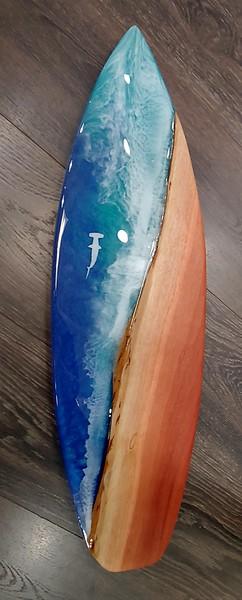"""28"""" Eucalyptus and Epoxy Resin with Hammerhead Shark"""