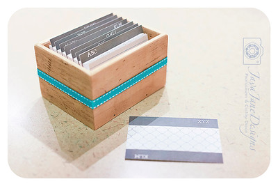Address + Business Card Keeper, Rustic Reclaimed Wood Box, Grey Geometric