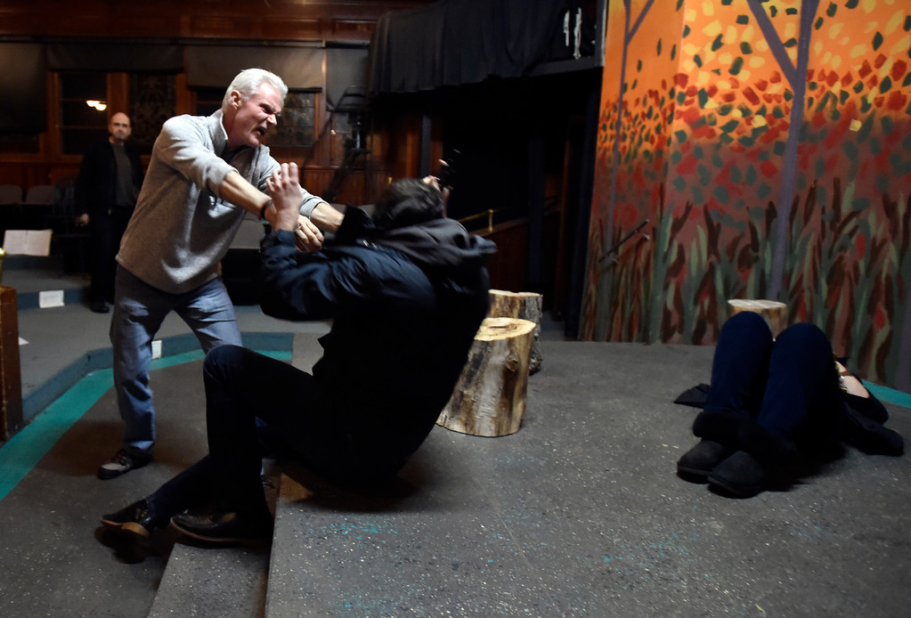 """. BOULDER, CO - JANUARY 07, 2019: Actors Brad Rutledge, left, and Michael Gurshtein perform a scene during a rehearsal for the play \""""Wood Smoke\"""" on Monday night at the Mary Miller Theater in Lafayette. For more photos of the rehearsal go to dailycamera.com (Photo by Jeremy Papasso/Staff Photographer)"""