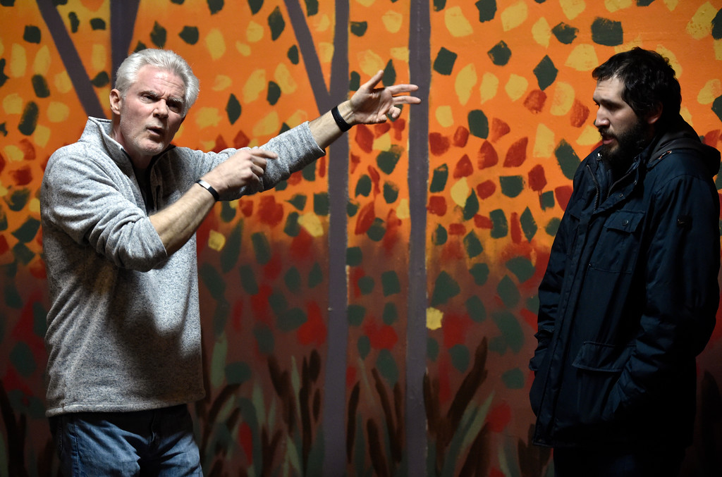 """. BOULDER, CO - JANUARY 07, 2019: Brad Rutledge, left, and Michael Gurshtein perform a scene during a rehearsal for the play \""""Wood Smoke\"""" on Monday night at the Mary Miller Theater in Lafayette. For more photos of the rehearsal go to dailycamera.com (Photo by Jeremy Papasso/Staff Photographer)"""