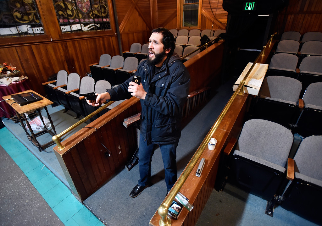 """. BOULDER, CO - JANUARY 07, 2019: Actor Michael Gurshtein holds a gun while performing a scene during a rehearsal for the play \""""Wood Smoke\"""" on Monday night at the Mary Miller Theater in Lafayette. For more photos of the rehearsal go to dailycamera.com (Photo by Jeremy Papasso/Staff Photographer)"""