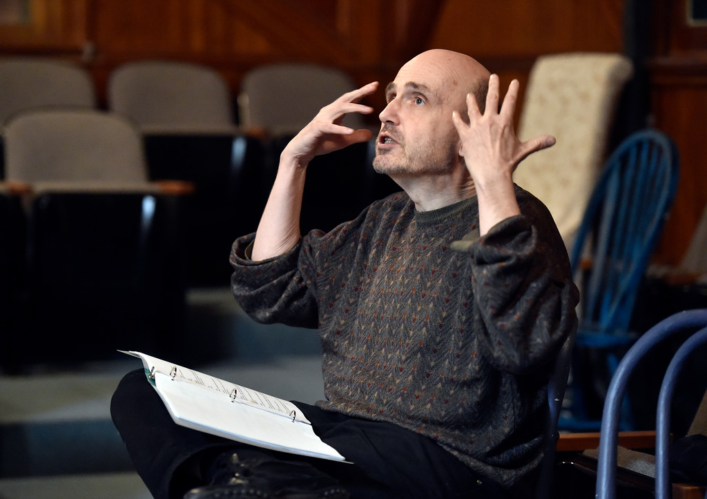 """. BOULDER, CO - JANUARY 07, 2019: during a rehearsal for the play \""""Wood Smoke\"""" on Monday night at the Mary Miller Theater in Lafayette. For more photos of the rehearsal go to dailycamera.com (Photo by Jeremy Papasso/Staff Photographer)"""