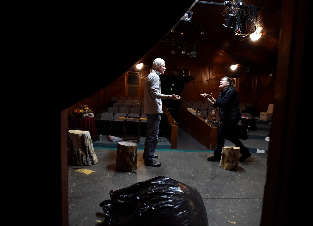 """. BOULDER, CO - JANUARY 07, 2019: Brad Rutledge and Madge Montgomery perform a scene during a rehearsal for the play \""""Wood Smoke\"""" on Monday night at the Mary Miller Theater in Lafayette. For more photos of the rehearsal go to dailycamera.com (Photo by Jeremy Papasso/Staff Photographer)"""