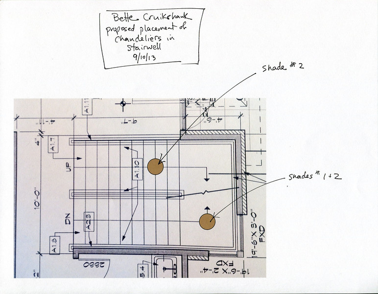 Floor plan for the stairwell, showing the placement for the electrical boxes