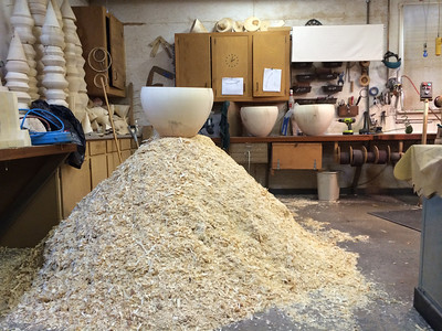 The huge pile of shavings that came from all three shades. The third shade is on top of the pile, the other two are on the counter behind