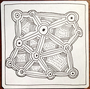 """""""Zentangles"""" are small structured doodles. I am enjoying making them. Again, it is very unclear if they are a minor hobby or something that will eventually be incorporated in to my work."""