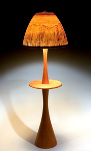 Floor lamp with Table, with Large Mushroom Shade