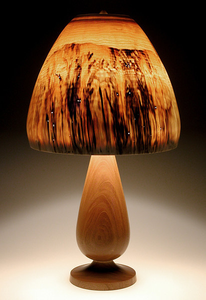 Mahogany 'Snifter' Base with Turned-In Mushroom Shade, having natural insect tunnels