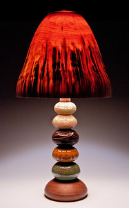 Peter Bloch and Paula Barry Collaboration #1: mulitcolor ceramic orbs with Walnut base and pear-shaped aspen shade