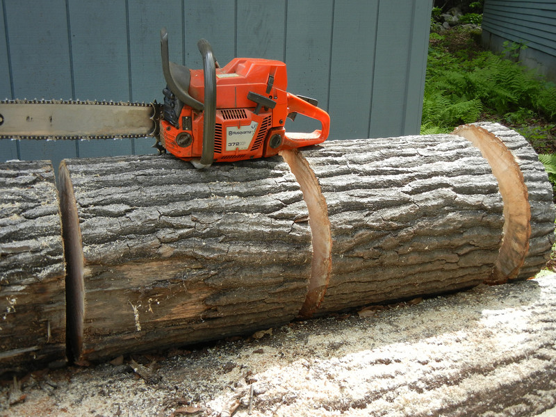 Two logs sections for a matched pair of shades that will go over a dining room table