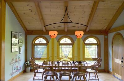 Two turned-in mushroom, chandelier orientation
