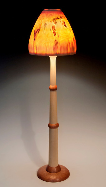 Bryce Canyon #4 Base, made from Aspen and Mahogany, with Turned-In Mushroom Shade