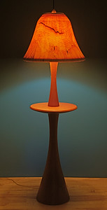 Floor lamp with Table, with Large Flare Shade