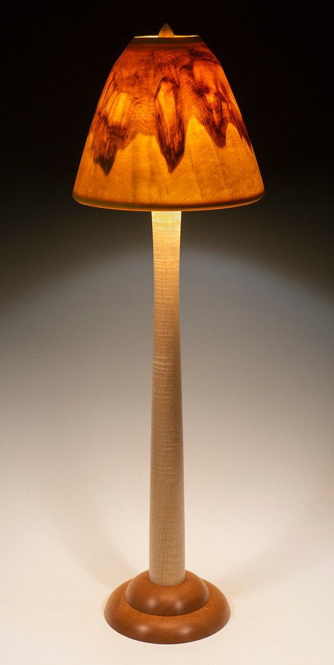 "Curly Maple and Mahogany ""Column"" Floor Lamp"