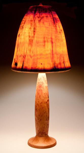 Camphor Burl and Mahogany Base with Bell Shade