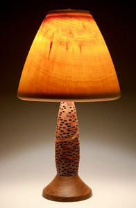 Base made out of an Australian Banksia Seed Pod, Teak Foot, Mushroom Shade