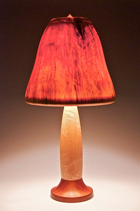 Birdseye Maple and Mahogany Base with Pear-Shaped shade