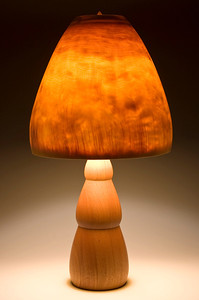 Mahogany 'Snowman' Base with Turned-in Mushroom Shade