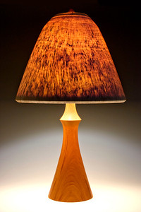 'Torso' Base made of Mahogany, with Round-Top Traditional Shade