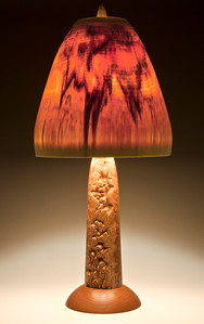 One-of-a-kind Corrugata Burl Base with Hybrid Shade