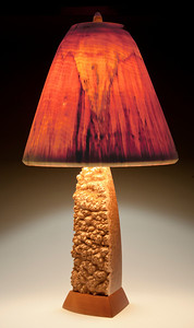 One-of-a-kind Corrugata Burl Base with Traditional Shade