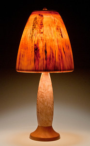 Base made from Yellow Birch Burl and Mahogany, Mushroom Shade