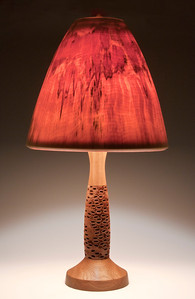 Base made out of an Australian Banksia Seed Pod, Teak Foot and Neck, Bell Shade