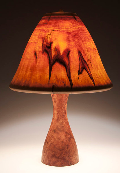 Camphor Burl Base and Wide Bell Shade