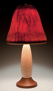 Base made from Curly Maple and Walnut, with Pear-Shaped Shade