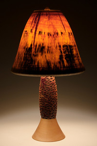 Base made out of an Australian Banksia Seed Pod, Maple Foot, Bell Shade