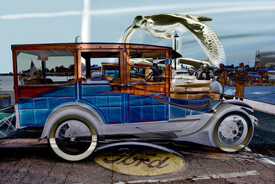 Photo montage:  this was the oldest woody on the Wharf, I included parts of the car with the photo of the car.