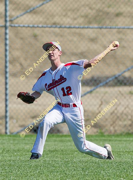 Woodland Christian School Cardinals vs. Millennium Falcons; Varsity baseball action at Trafican Field, Matmor Campus, Woodland CA.
