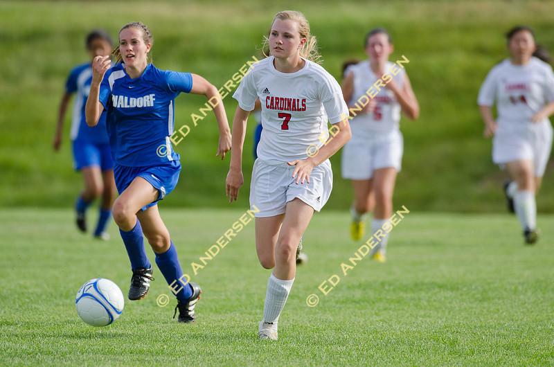 Woodland Christian School v. Waldorf; girl's soccer action; Matmor Campus, Woodland.