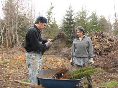 Pat opening up a bundle of 10 Douglas Fir Seedlings.  March 2, 2013
