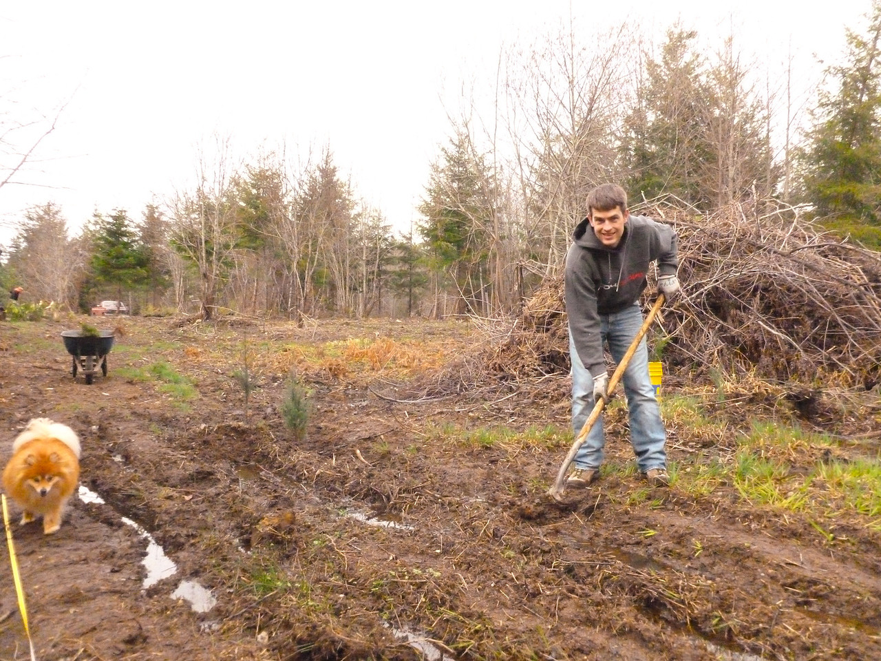 Simon planting the muddy areas and Diego protecting the foresters.  March 2, 2013