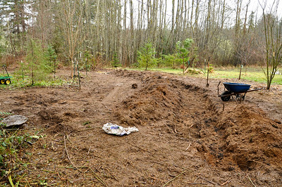 "Feb 2012   Day 2 Hand dig trench 3' Wide X 18"" Deep X ? 50'... Till I am tired."