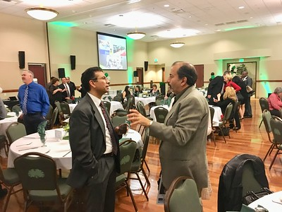 JIM SMITH - DAILY DEMOCRAT Yolo County Clerk Recorder Jesse Salinas speaks with Woodland Memorial Hospital Executive Director Kevin Vazari at the 87th Annual Chamber of Commerce Installation Dinner.