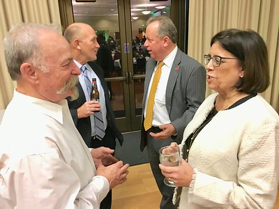 JIM SMITH - DAILY DEMOCRAT Chamber member and former Woodland City Councilman Jim Hilliard speaks with Assemblywoman Cecilia Aguiar-Curry while state Sen. Bill Dodd talks politics in the background.