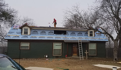Adding shingles (and siding to new part)