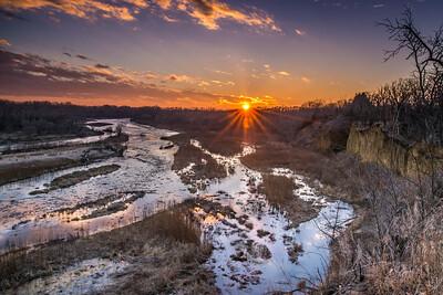 Sun-Streaked River