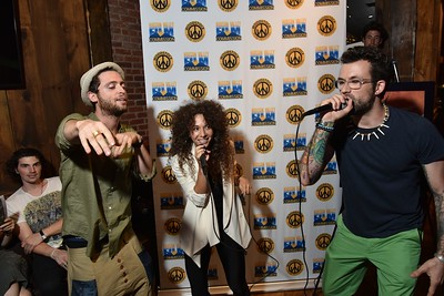 Miguel Gelucksterm, Actress Brianne Berkson (BAD VEGAN AND THE TELEPORTATION MACHINE) and Rizumik perform at the 2016 Woodstock Film Festival Launch Party at Libation NY, sponsored by Ketel One. Photos by www.johnmazlishphoto.com