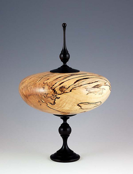 "Spalted Maple with African Blackwood lid/finial<br /> 8-3/4""H x 6""W<br /> Assembled from three individually turned pieces."