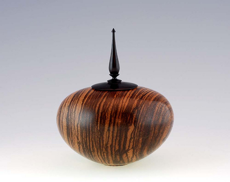 """Zebrawood vessel with African Blackwood lid/finial<br /> 5-1/4""""H x 4-1/2""""W"""