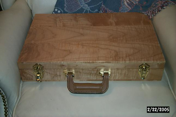 Curly maple solid wood briefcase